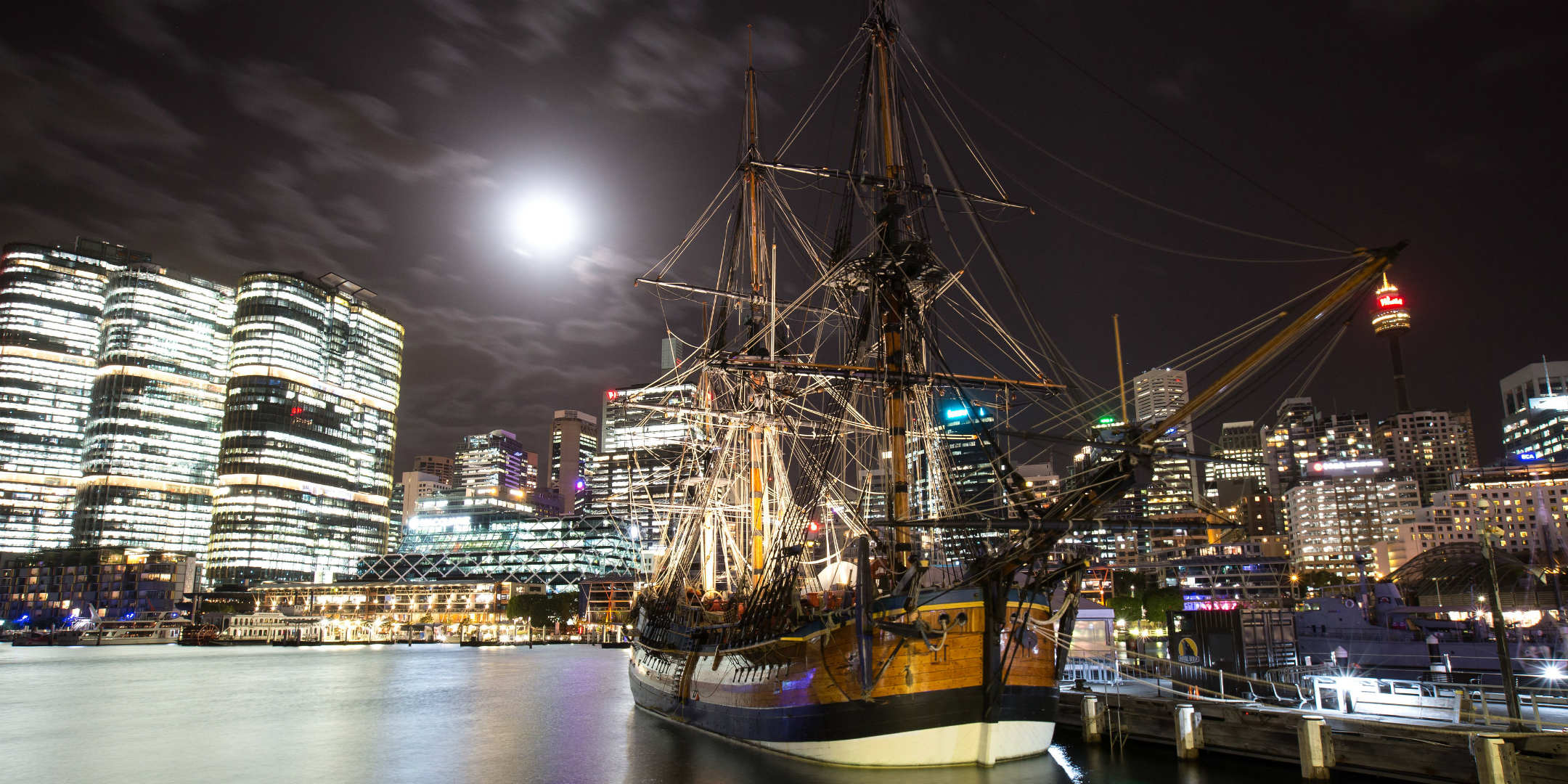HMB Endeavour at night