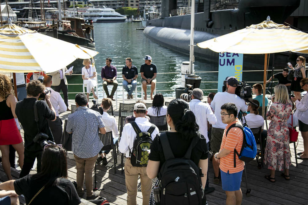 Sydney's first permanent Seabin at the Australian National Maritime Museum, launch in partnership with the Seabin Project, TOMRA and HP