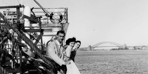 Passengers on the deck of migrant ship MV NAPOLI in Sydney Harbour. ANMM Collection 00003531