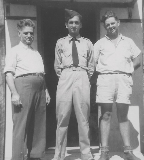 Emanuel Comino (centre, in RAAF uniform) with his father John (left), Queensland, c 1952.