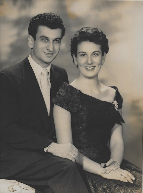Emanuel Comino and Matina Masselos at their engagement, Sydney, c 1956.