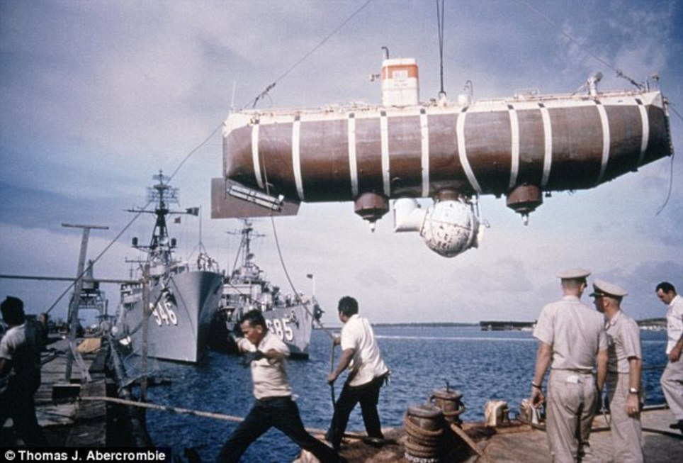 The bathyscaphe prior to its historic dive to the deepest part of the world ocean. Image: Courtesy Thomas J. Abercrombie, National Geographic Society. Image: Courtesy Thomas J. Abercrombie, National Geographic Society.