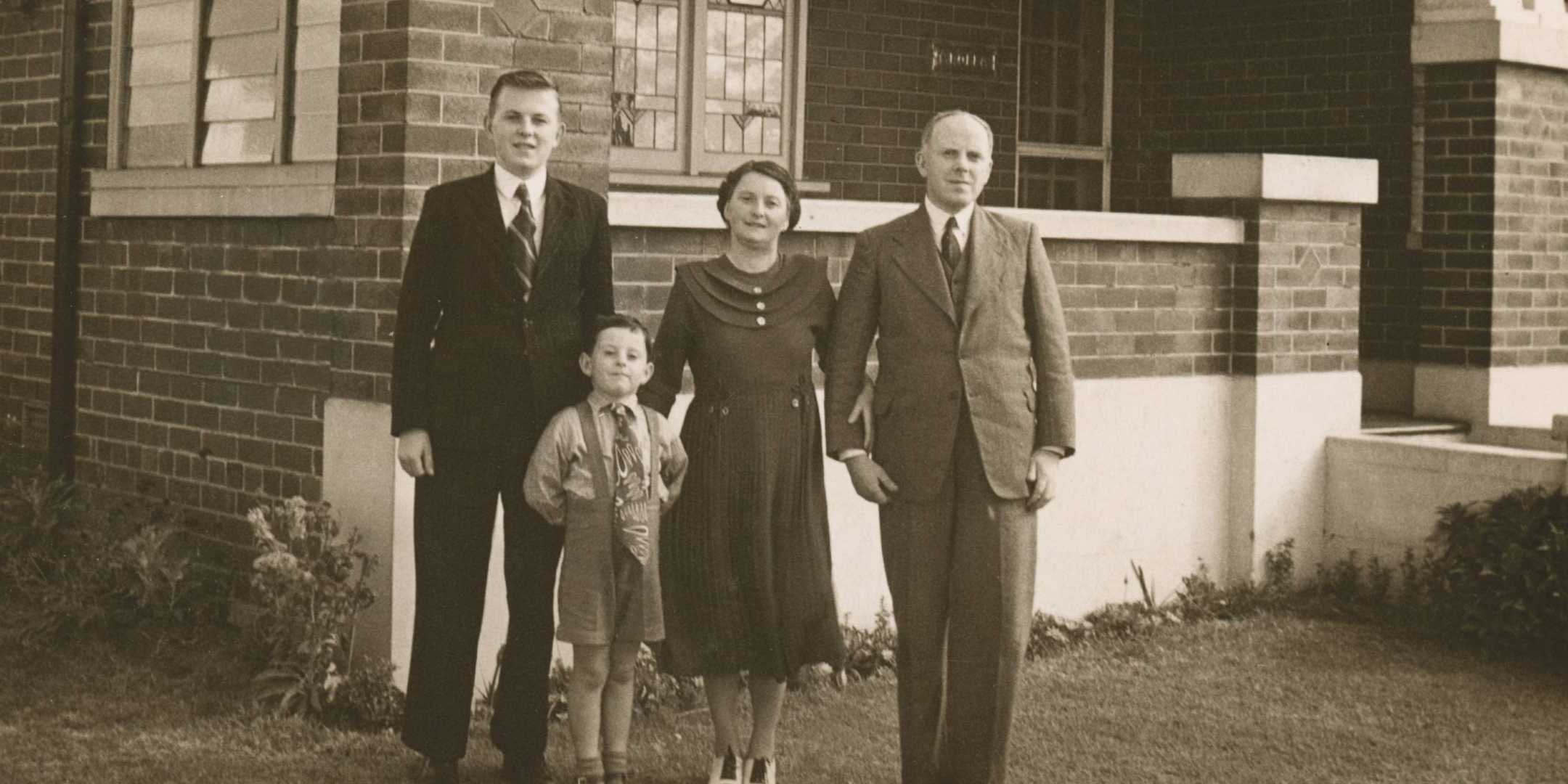 The Wilson family outside their home in Concord, New South Wales, 1948. Reproduced courtesy Victor Wilson Jnr