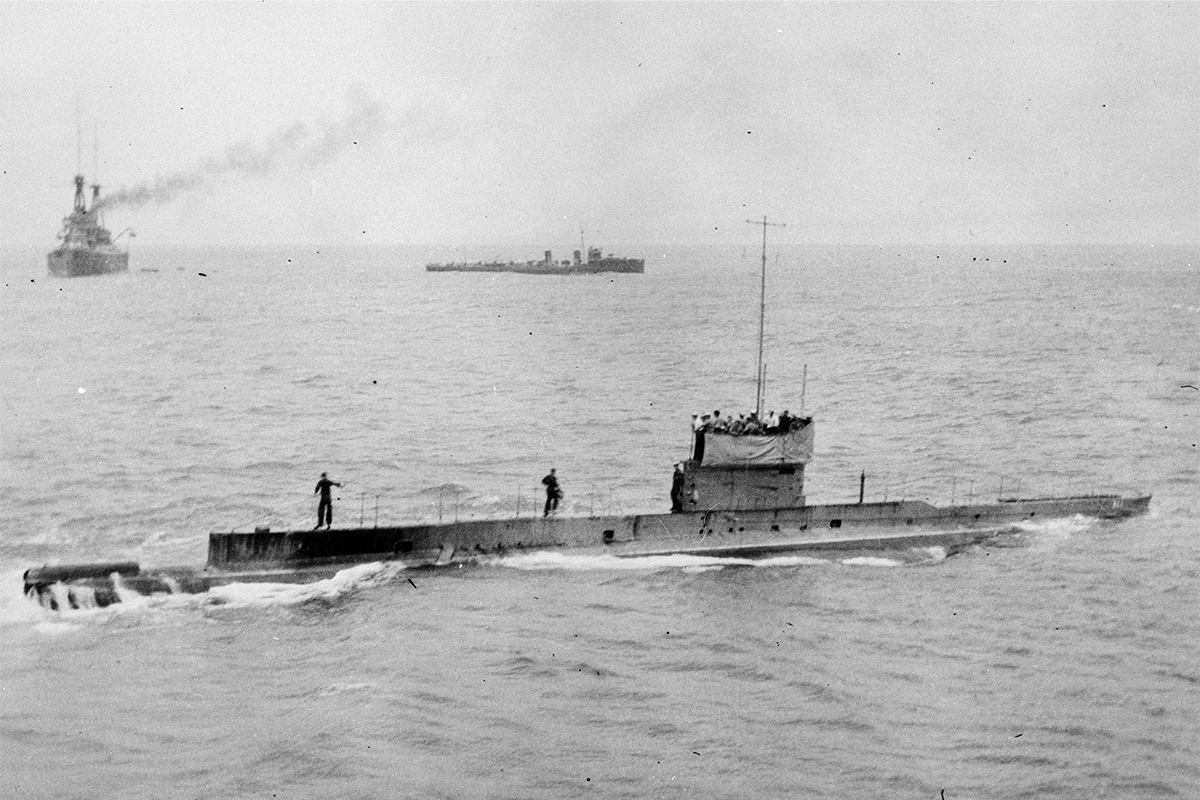The last known photograph of AE1 prior to its disappearance shows the submarine near Rossel (Yela) Island in the Louisiade Archipelago on 9 September 1914. Image: Royal Australian Navy.