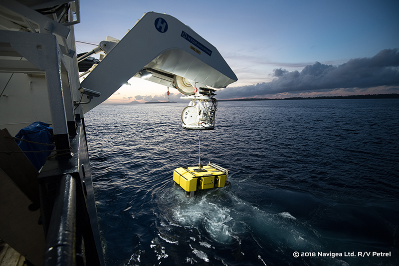 Petrel's ROV is launched during the 2018 examination of AE1. The ROV has a maximum depth limit of 6,000 metres and was outfitted with an array of still and video cameras. Image: Paul G. Allen, Find AE1 Ltd., ANMM and Curtin University. Copyright, Navigea Ltd.