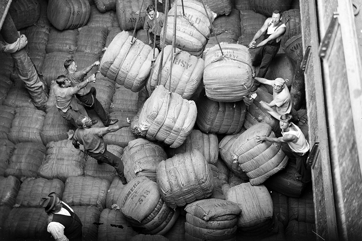 Wharfies positioning wool bales in the cargo hold of the Magdalene Vinnen, Samuel J Hood Studio, 1933. ANMM Collection 00035586.
