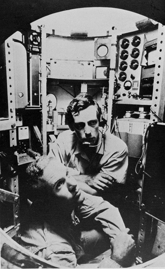 Lieutenant Don Walsh and Jacques Piccard in the bathyscaphe TRIESTE.