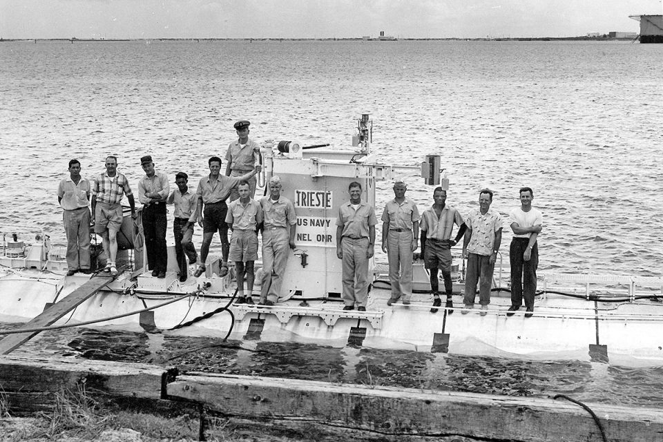 The Project Nekton team on board TRIESTE in Apra Harbour, Guam, 1959. Courtesy: Don Walsh