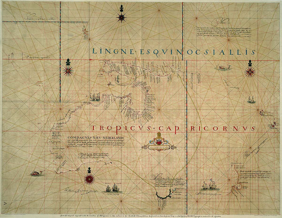 116305ddf Australia and New Zealand, from the original map made under the direction  of Abel Tasman