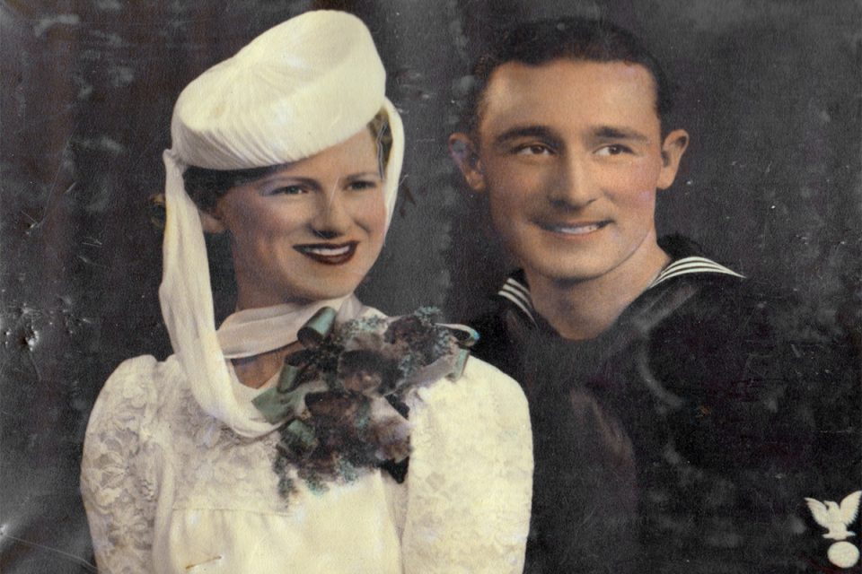 Mary 'Dot' Flynn and William A Dority USN on their wedding day. Image: Reproduced courtesy Russell Dority.