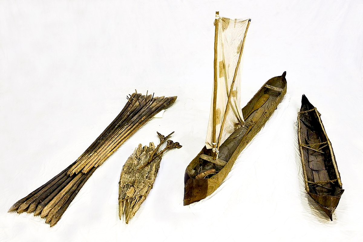 Four Aboriginal watercraft from the museum's collection. Image: Andrew Frolows.