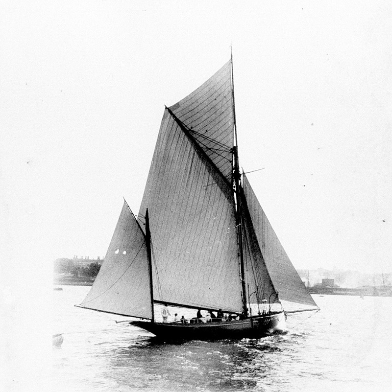Yawl, probably ERA, off Farm Cove, Sydney Harbour. ANMM Collection 00002476. William James Hall.