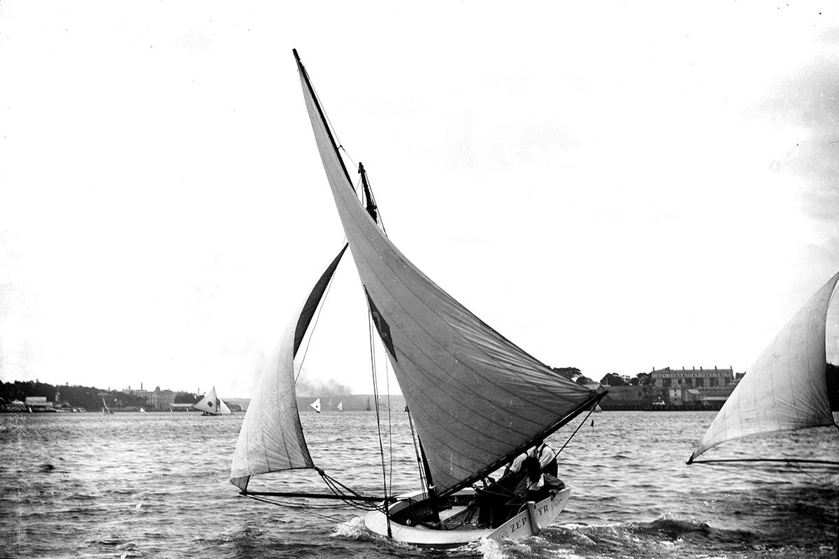 Yacht ZEPHYR on Sydney Harbour. ANMM Collection 00002619. William James Hall.
