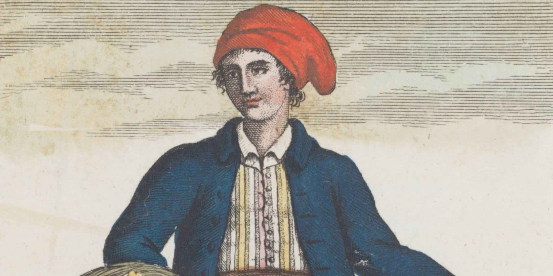 The first known image of Jeanne Baret, from 1816. From Navigazioni di Cook del grande oceano e intorno al globo, Volume 2, 1816, Sonzogono e Comp, Milano. Reproduced courtesy State Library of NSW