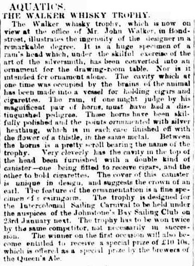 A bonnie description of the trophy in Sydney Morning Herald, 19 December 1896. Source: Trove, National Library of Australia.