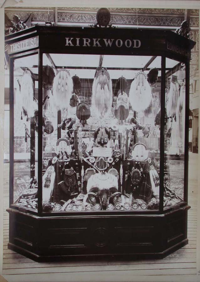 A display of the silversmith artistry and traditional highland trophies from Kirkwood, at the 1888 Glasgow Exhibition. Source: University of Glasgow.