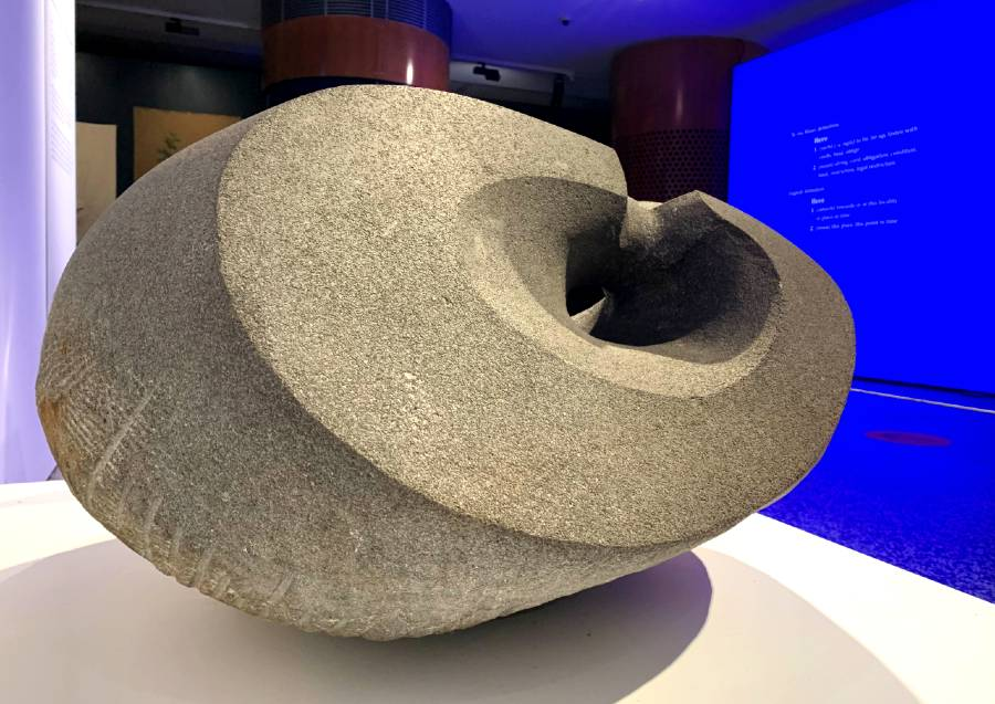 Replica of Kupe's punga (anchor stone) by Wi Taepa on display in Here: Kupe to Cook at the Australian National Maritime Museum
