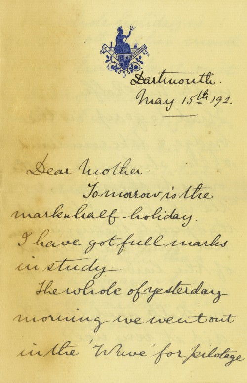 Letter from Arthur to his mother, dated 15 May, 1892. ANMM Collection, 00028323