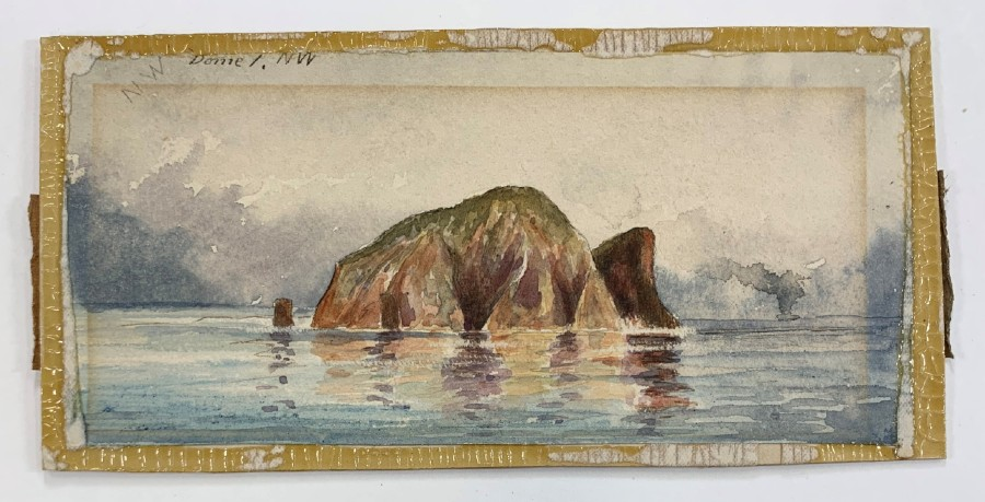 'Dome Island looking N.W.' after separation from mount revealing more of the watercolour, a hidden inscription and yellowed animal glue