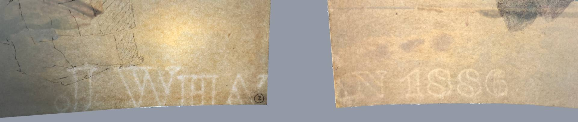 Using transmitted light to show the 'J Whatman' and '1886' watermarks that were revealed after the backing removal