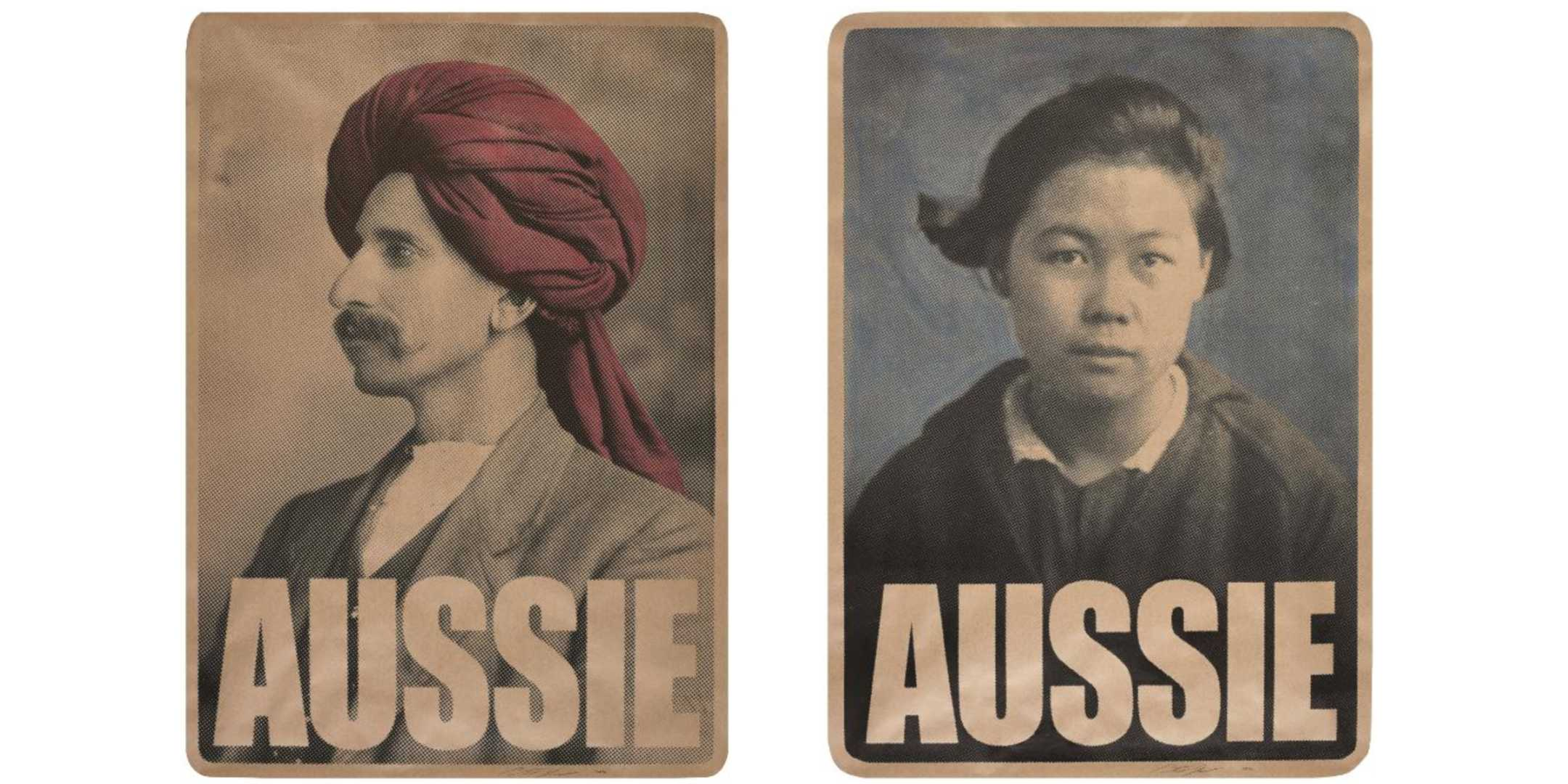 Left to right: Monga Khan AUSSIE and Gladys Sym Choon AUSSIE posters by Peter Drew, 2020. National Maritime Collection, reproduced courtesy the artist
