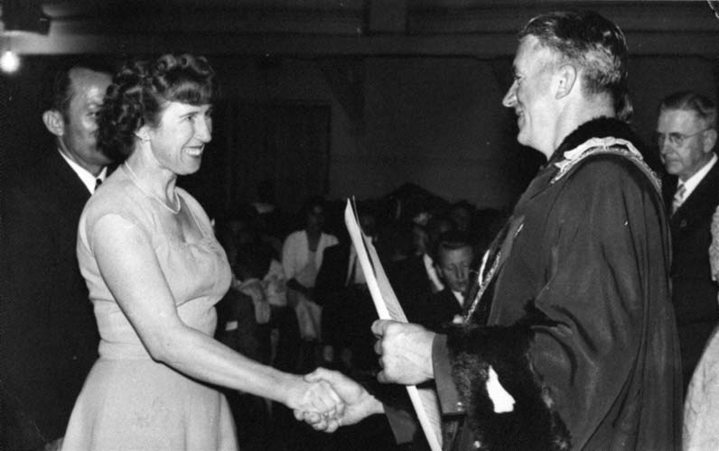 Leni at her Australian naturalisation ceremony, Adelaide, 1957. Reproduced courtesy Annette Janic.