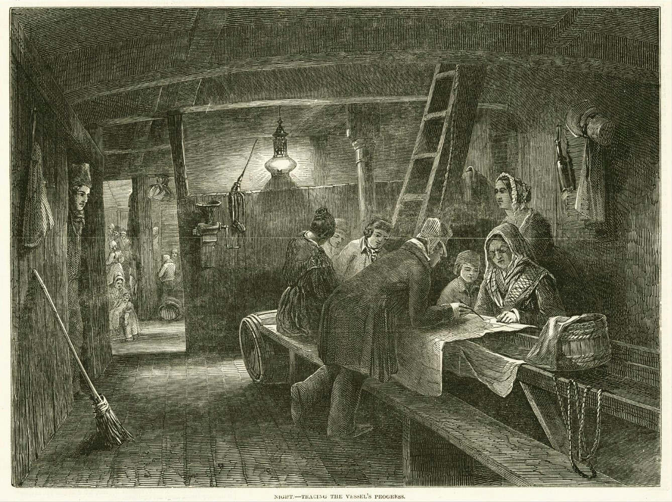 Passengers become amateur navigators as they trace their vessel's progress on a long 19th century sea voyage. From 'Scenes on board an Australian emigrant ship', The Illustrated London News, 1848.  ANMM Collection 00003594