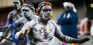 Yolŋu dancers performing a traditional ceremony at the opening of the Gapu-Monuk Saltwater exhibition. Photo by Andrew Frolows.