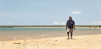 Djambawa Marawili AM - ceremonial leader of the Madarrpa clan on north-east Arnhem Land and a lead plaintiff in the Blue Mud Bay Case. Photo by Justin Overell for Carbon Creative.