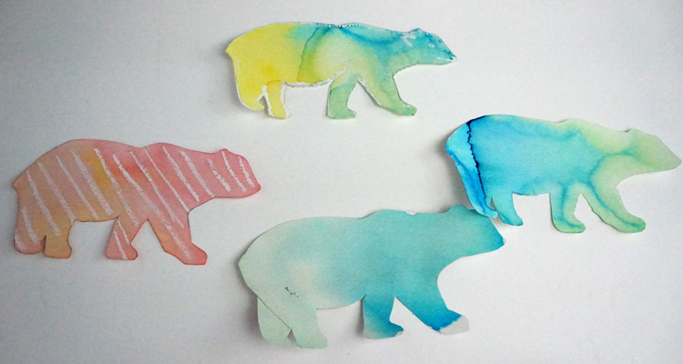 How to make ice cube polar bear paintings