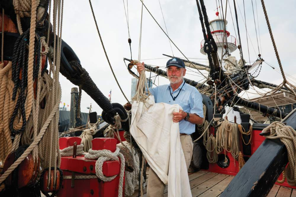 John Dikkenberg, Master of the replica HMB Endeavour photographed on-board the vessel, 2020