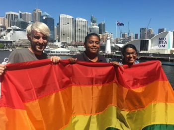 Australian National Maritime Museum staff with rainbow flag, 2019