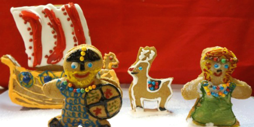 viking and reindeer gingerbread