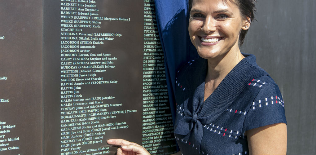 Welcome Wall unveiling ceremony, 7 May 2018. Tania Murray (daughter of sporting legend and Hungarian migrant, Les Murray) and the newly unveiled name panel.