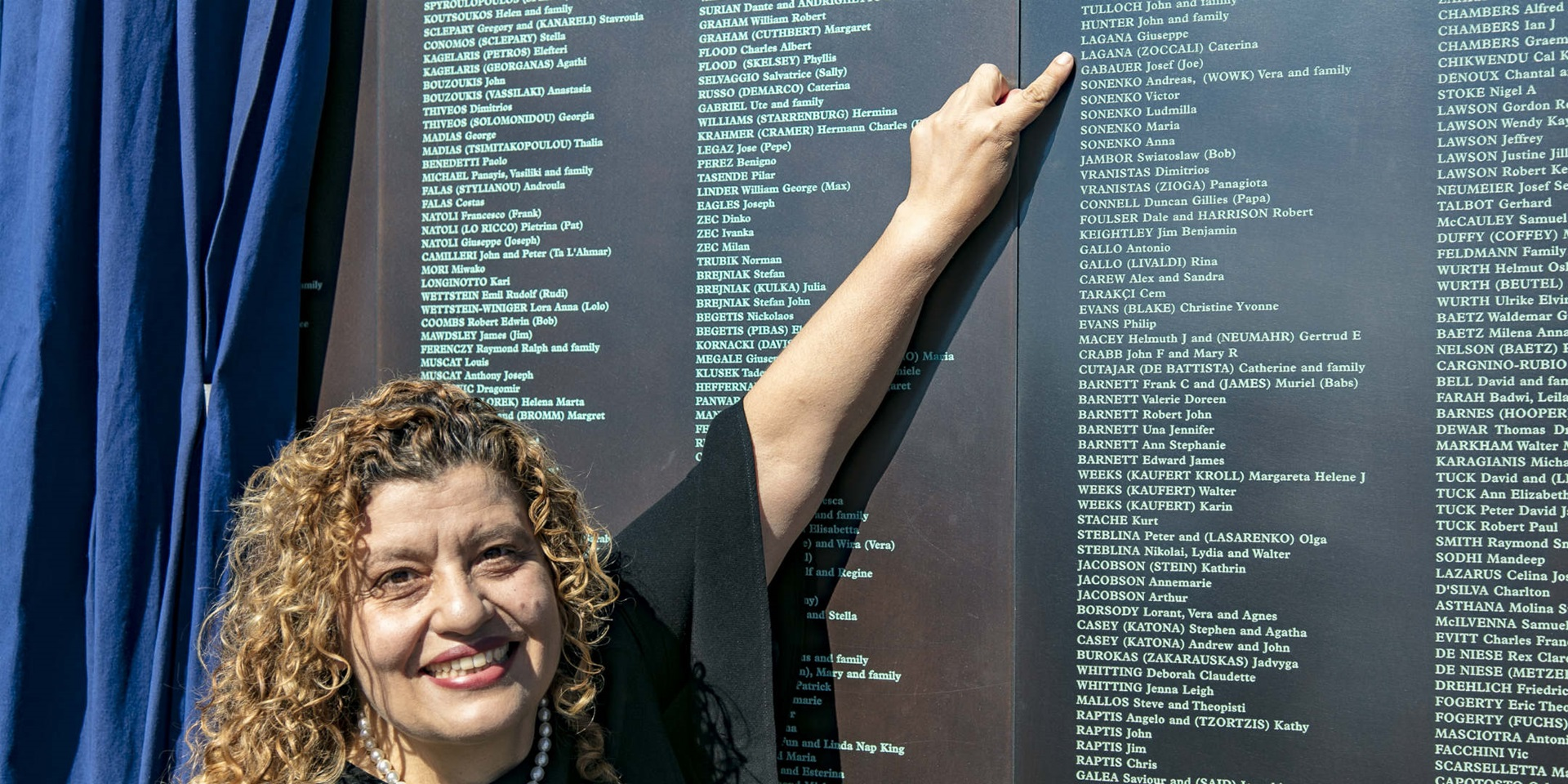 Welcome Wall unveiling ceremony, 7 May 2018. Mary Lagana, daughter of Giuseppe and Caterina from Calabria, Italy.