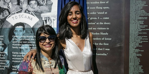 Special Guest Pritika Desai (right), who was named the India Australia Business Community Awards Young Community Achiever of the Year for her work on a youth mental health project, reflected on her Indian heritage at the Welcome Wall unveiling ceremony, 7 May 2017.