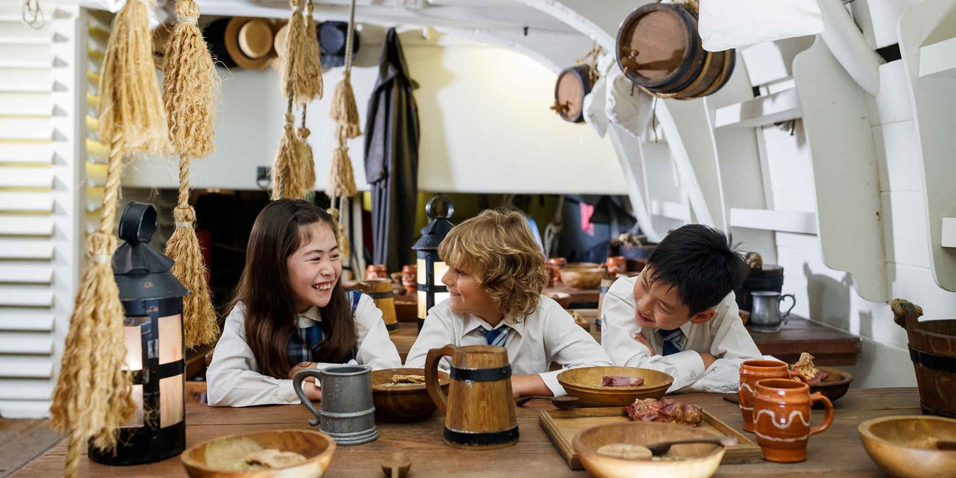 School children on board HMB Endeavour