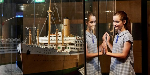 A primary school girl in the museum's passenger gallery during a Navigator's workshop