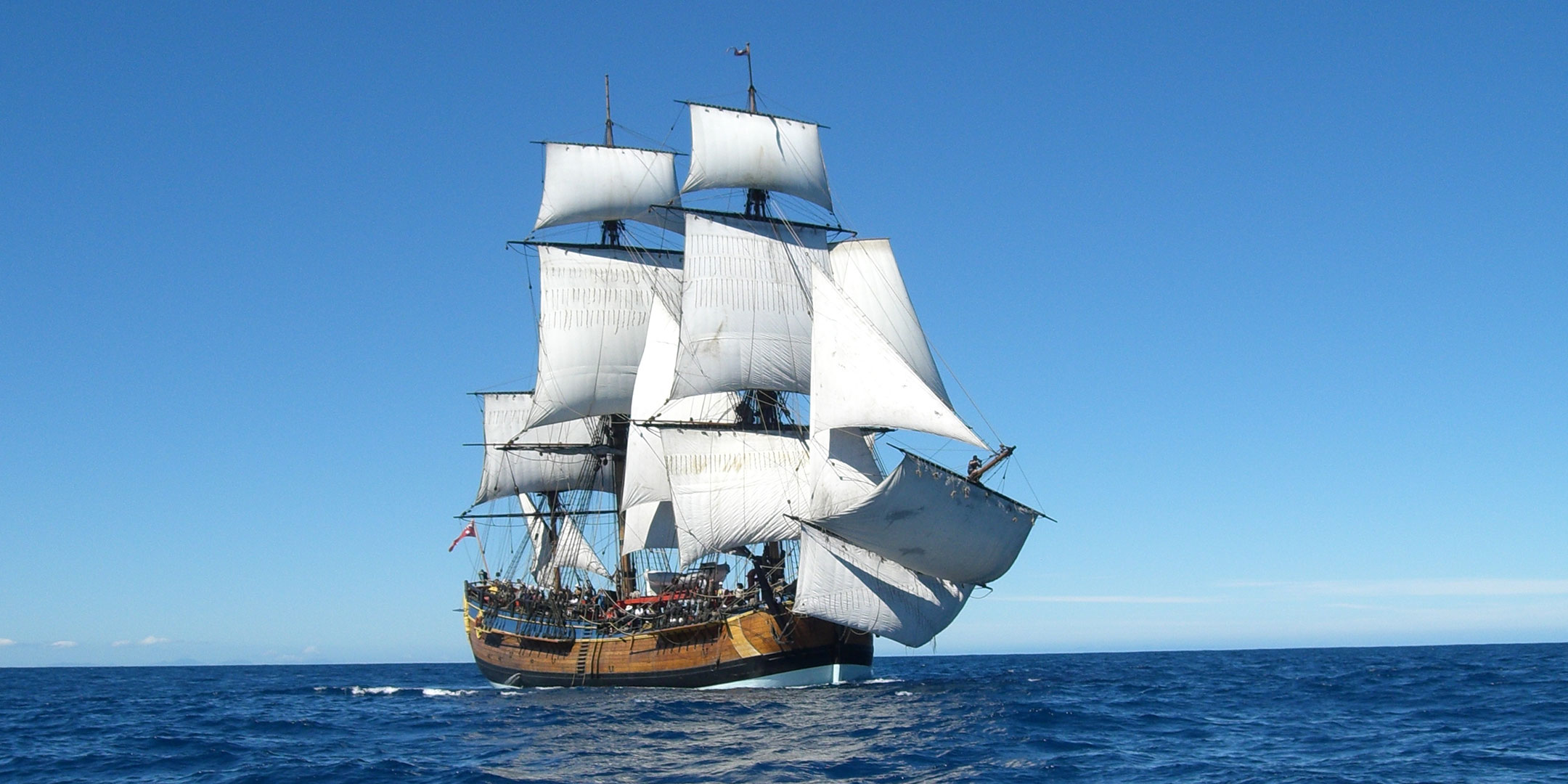 HMB Endeavour under full sail