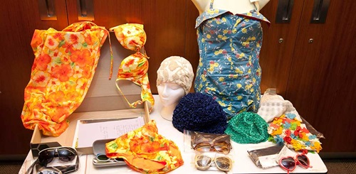Some of the swimwear collection used in the History of swimwear workshop