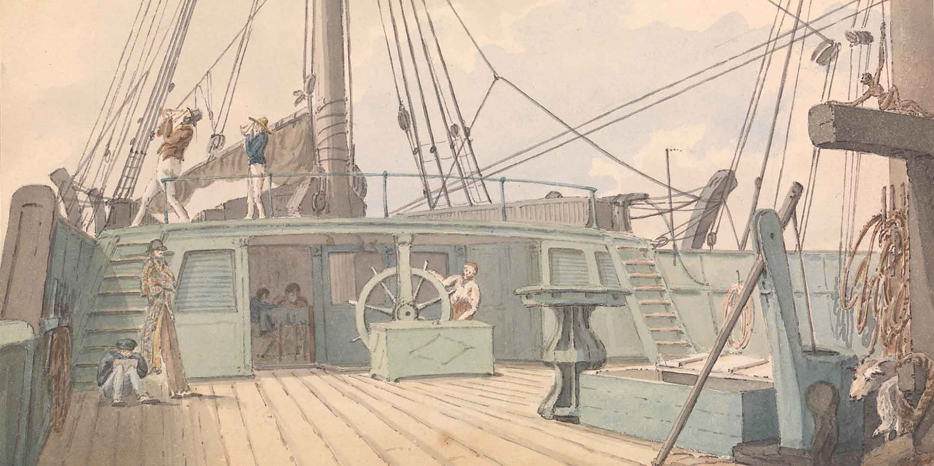 Deck scene, with man at the wheel, and another two taking sextant readings, Reverend Thomas Streatfeild, 1820, National Maritime Museum, Greenwich, London, PAI4318