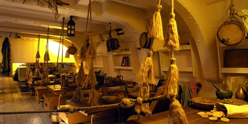 HMB Endeavour Mess Deck. The tasselled knotted ropes were used for wiping hands.