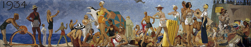 Bathers and Lifesavers on Bondi Beach, Henry Souter, 1934. ANMM Collection 00055529.