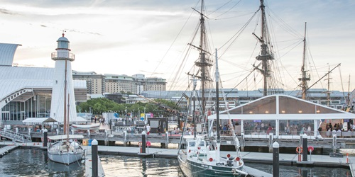 This space located next to HMB Endeavour offers stunning waterfront views overlooking Darling Harbour.
