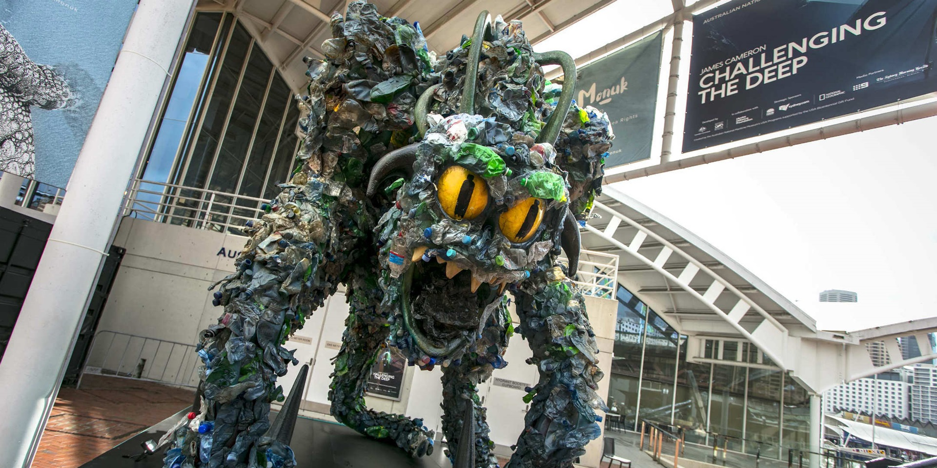 """The Beast"" made from 2,400 recycled plastic bottles and towering over at close to 4 meters high"
