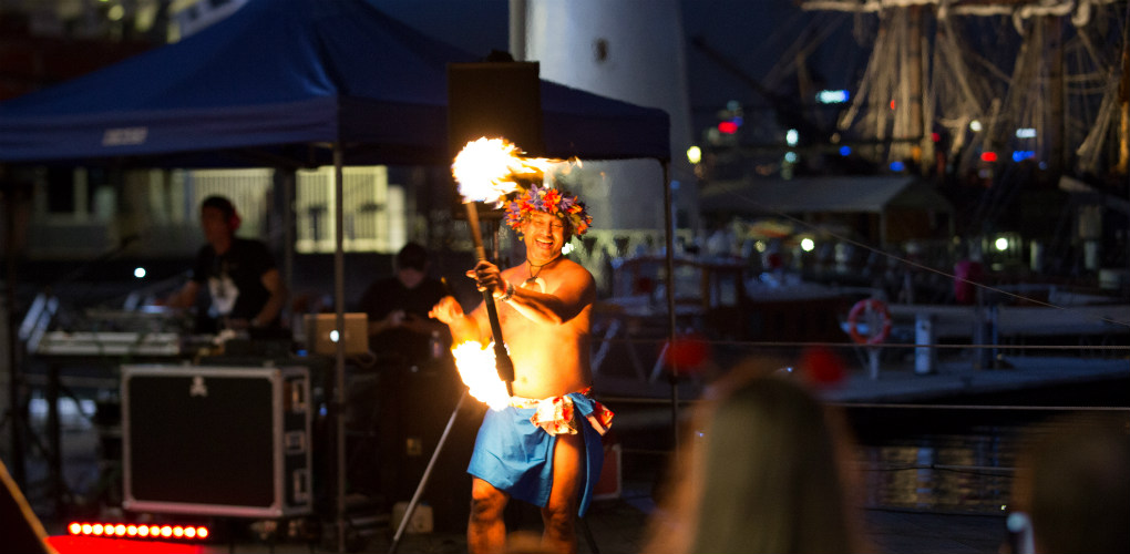 Fire dancers: New Year's Eve celebrations at the Australian National Maritime Museum, Darling Harbour, Sydney 2017