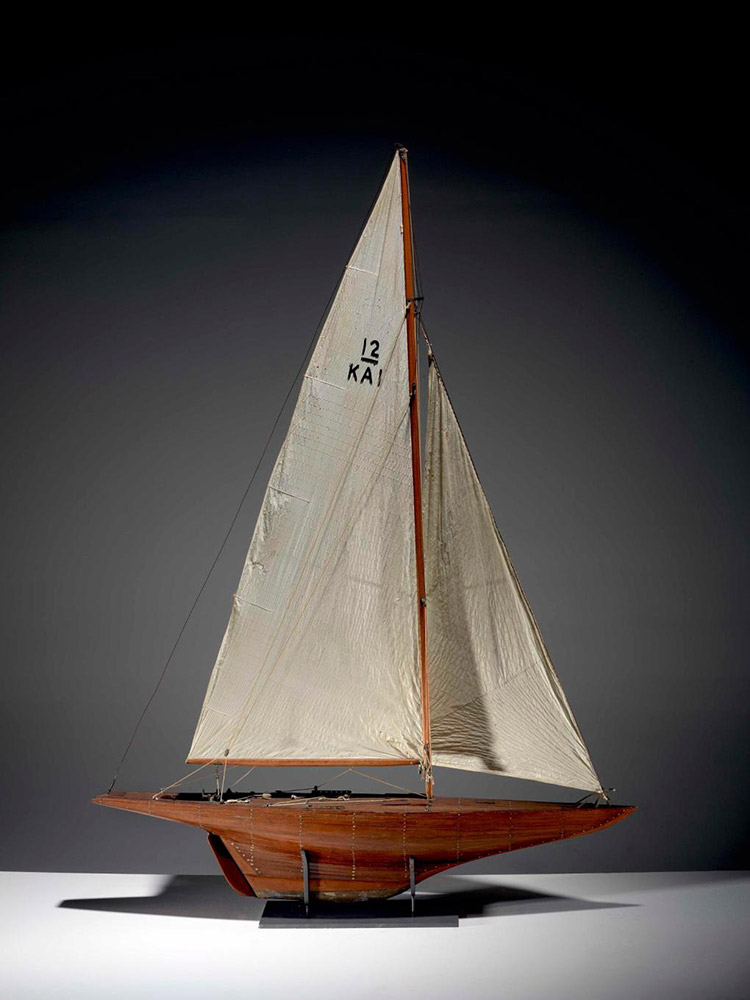 Timber model of the 12m Gretel, Australia's challenger for the 1963 America's Cup, designed by Alan Payne AM. The yacht's builders Magnus and Trygve Halvorsen are honoured in the Australian Sailing Hall of Fame. ANMM Collection Gift from David Williams, who made the model.