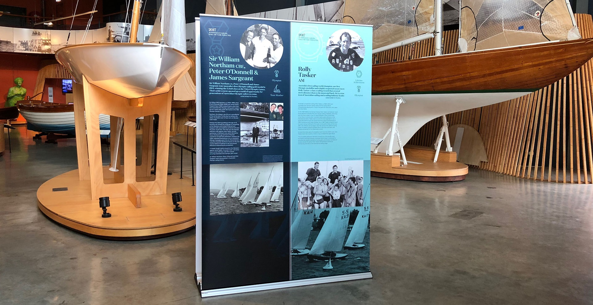 Australian Sailing Hall of Fame banner exhibition on display in the museum