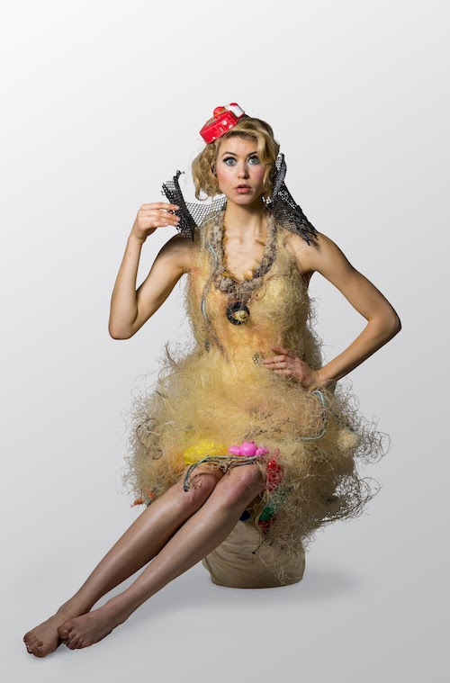A Captive Audience wearable art by Marina DeBris. Photo by Richard Flynn. The outfit is made from netting found by Captain Charles Moore in the Pacific Garbage Patch.