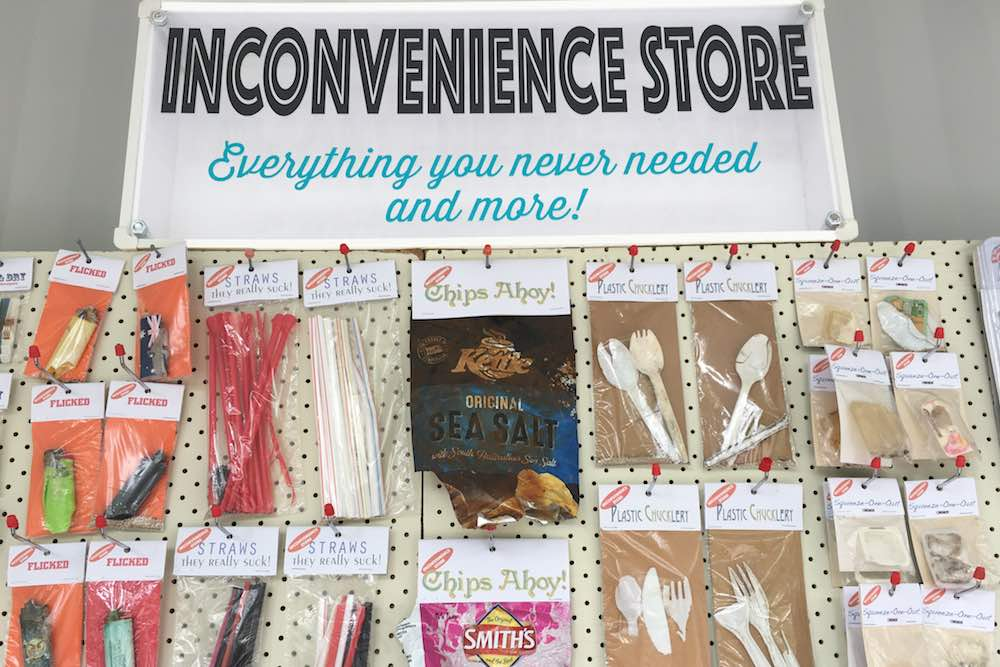 Products for sale in 'The Inconvenience Store' installation by Marina DeBris. Photo by Marina DeBris